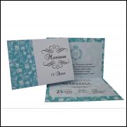 Convite 15 anos 10 x 14 cm  - Uma Dobra + Saquinhos  Plásticos (100 Unidades)