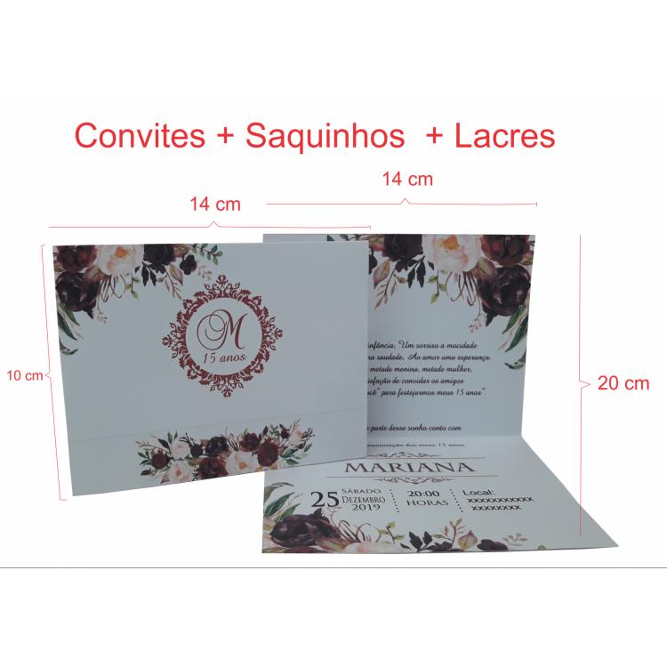 Convite 15 anos 10 x 14 cm  - Uma Dobra + Saquinhos  Plásticos (120 Unidades)