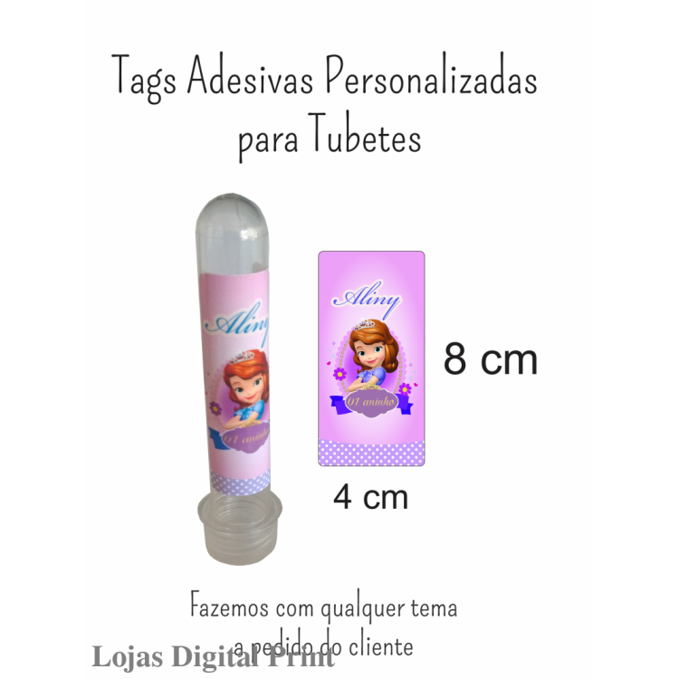 200 Tags Adesivas Personalizadas para Tubetes